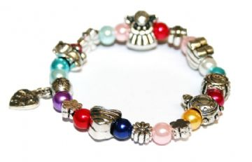 Tibetan silver alloy and glass pearl charm bracelet child's size 16cm ( £1.20 each)